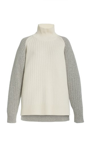 Two-Tone Cashmere Turtleneck Sweater
