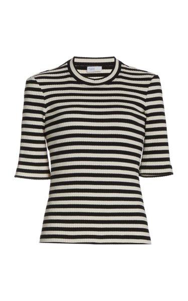 Striped Cotton-Knit Cropped T-Shirt