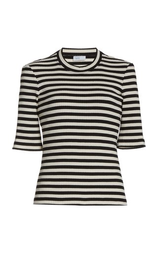 Striped Cotton-Knit Cropped T-Shirt