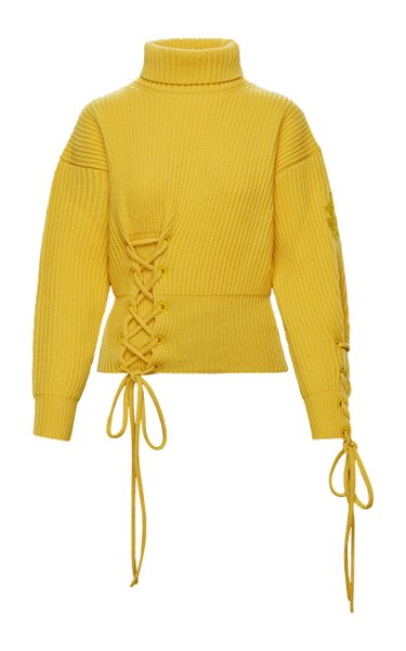 1 Moncler JW Anderson Lace-Up Wool-Cashmere Sweater