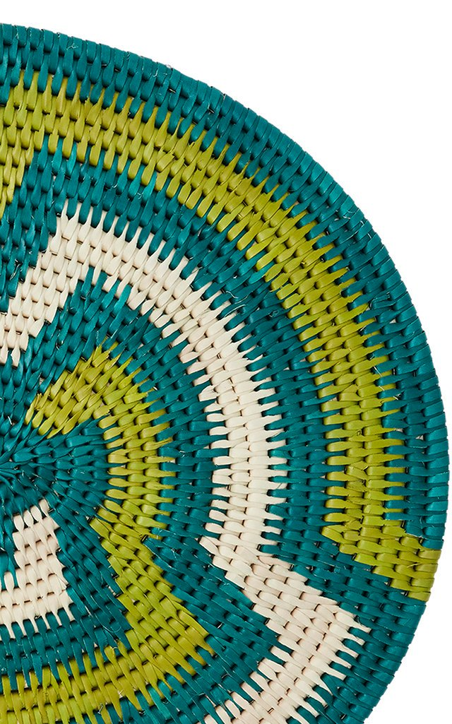 Teal Patterned Zig Zag Placemat In Bamboo, Palm Leaf And Rattan