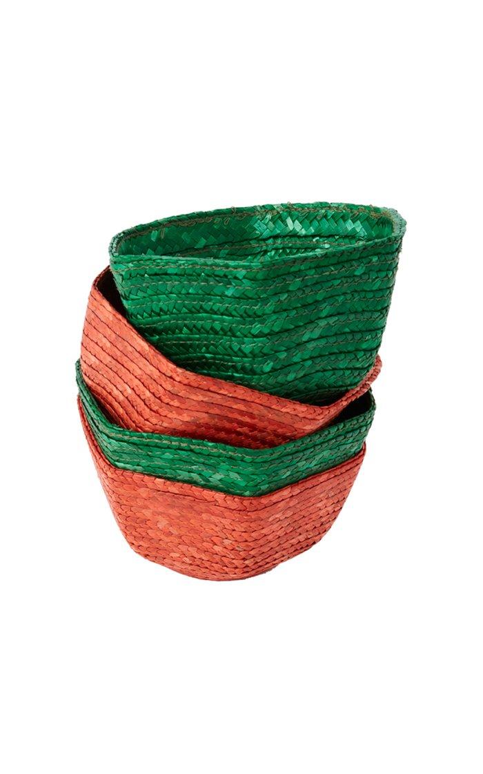Rafia Bread Basket Green