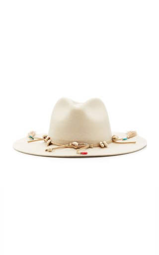 Seashell-Embellished Wool-Felt Hat