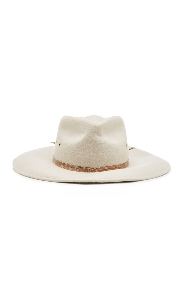 Jade Leather-Trimmed Wool-Felt Fedora
