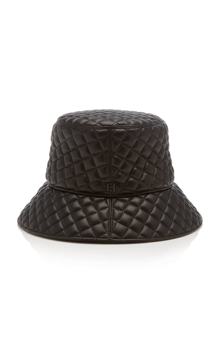 Quilty Quilted-Leather Bucket Hat