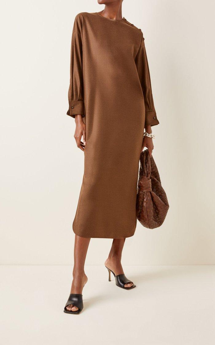 Venusia Oversized Wool Midi Shirt Dress