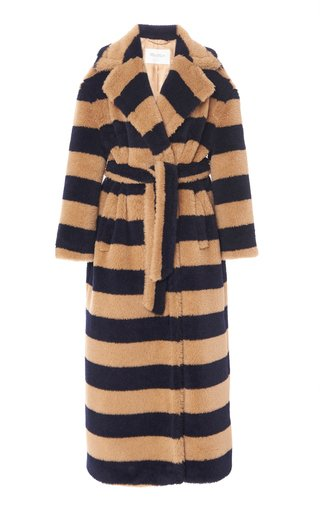 Teddy Oversized Striped Alpaca-Blend Coat