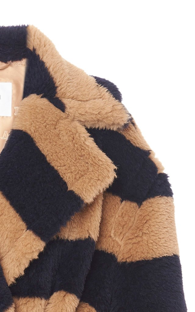 Teddy Oversized Striped Alpaca-Blend Coat