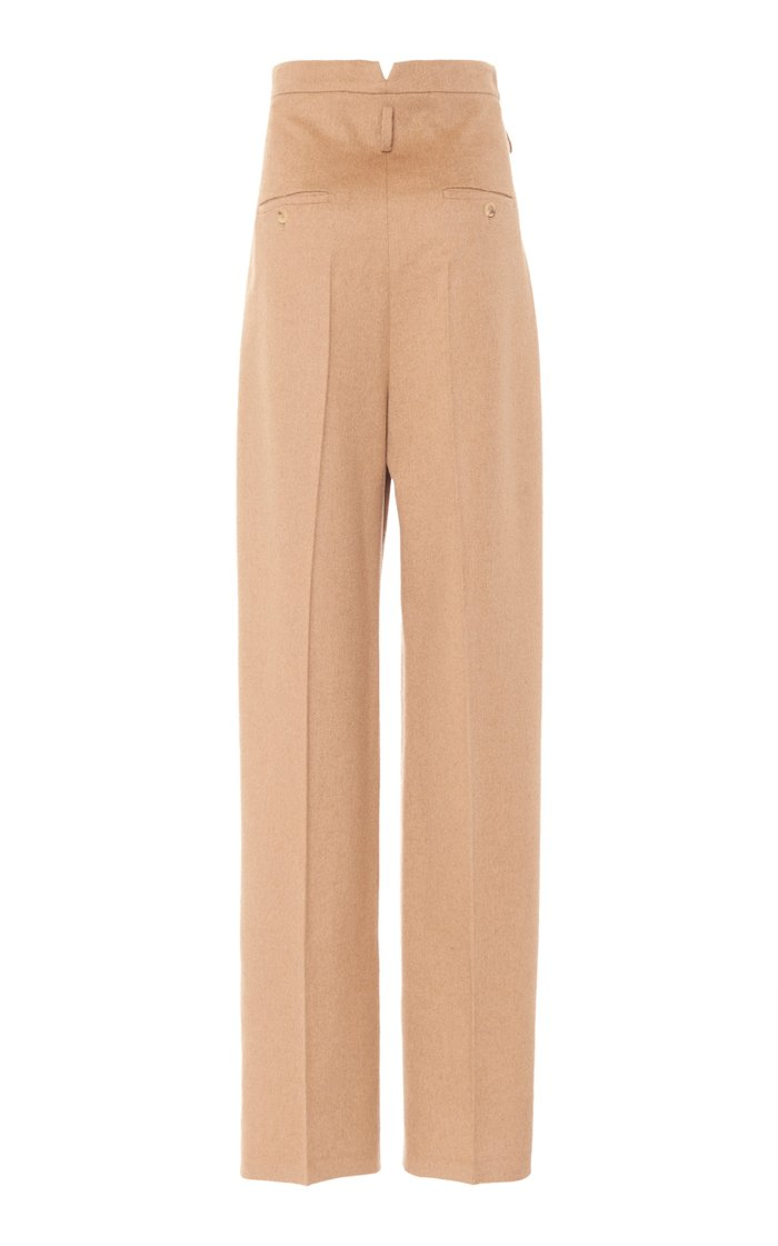 Break Pleated Camelhair High-Rise Straight-Leg Trousers