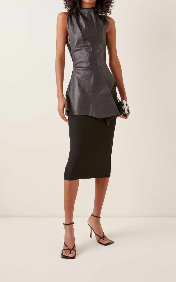 Dark Shadow Leather-Paneled Knit Dress