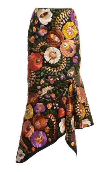 Embroidered Cotton Midi Skirt