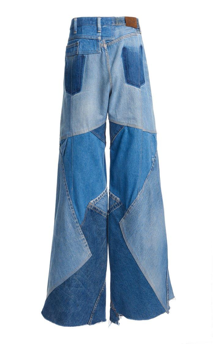 Wide-Leg Patchwork Jeans