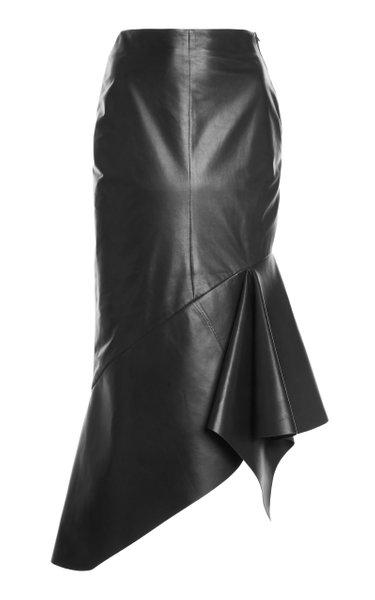 Asymmetric Leather Midi Skirt