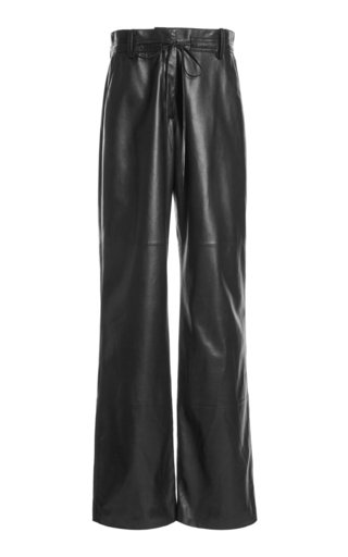 Mid-Rise Wide-Leg Leather Pants