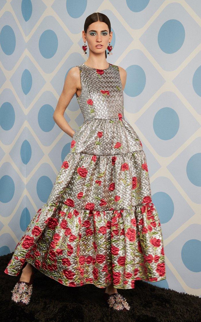 Floral Cloqué Dress