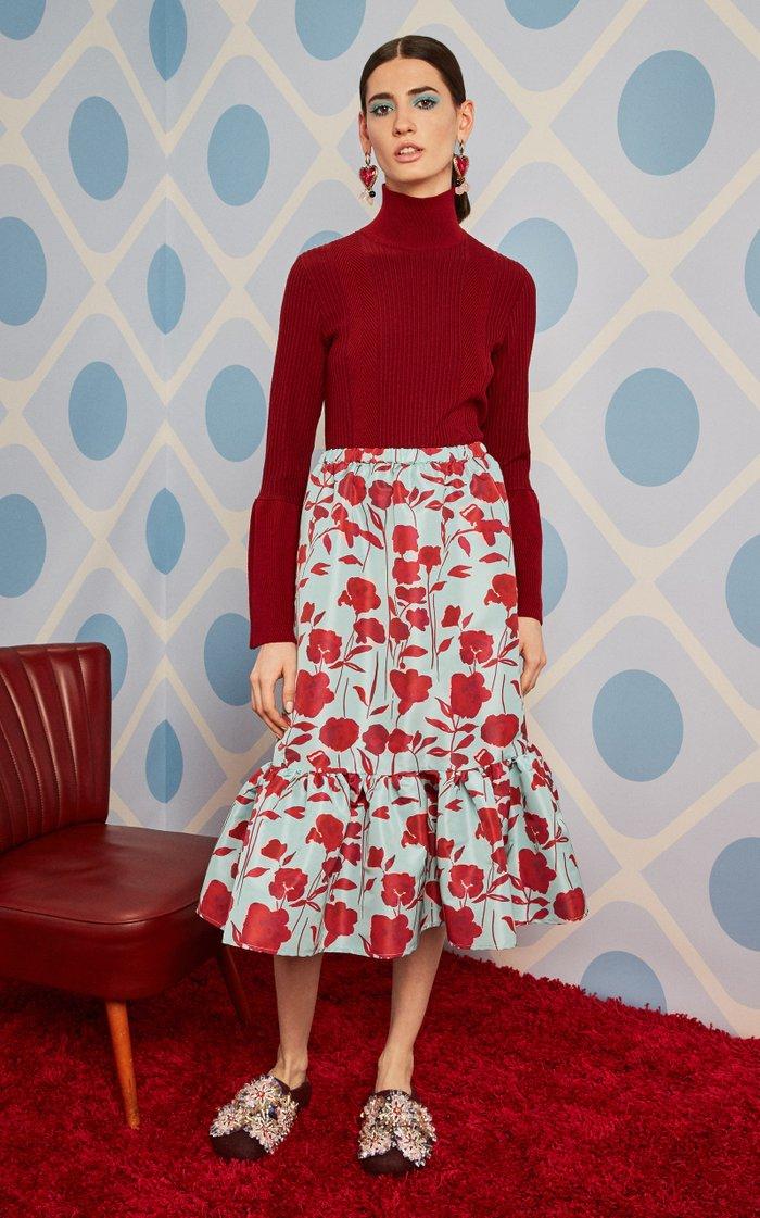 Cecilia Printed Crepe Skirt