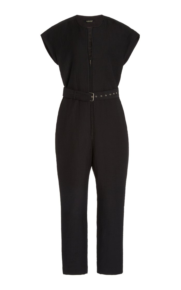 Ranks Belted Cotton-Blend Wrap Jumpsuit