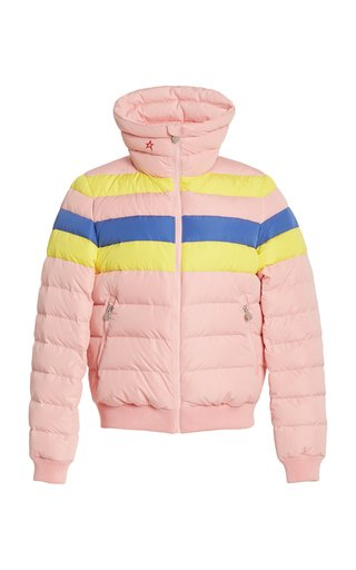 Queenie Striped Shell Down Puffer Jacket