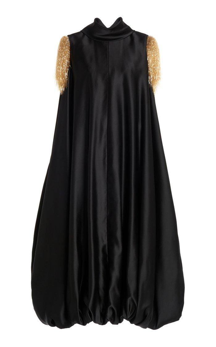 Satin Bubble-Hem Dress