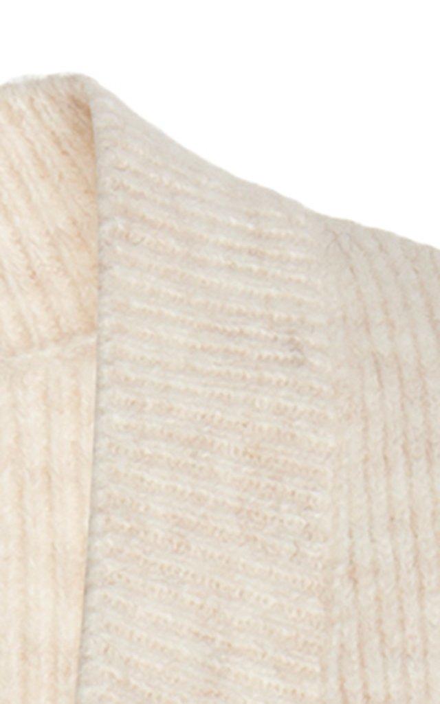 Frilled-Hem Wool-Blend Maxi Dress