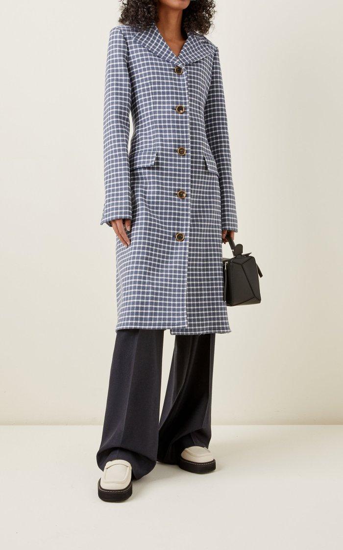 Plaid Curved-Hem Wool-Blend Coat
