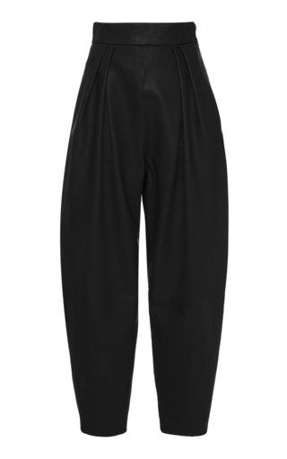 Pleated Leather Pants