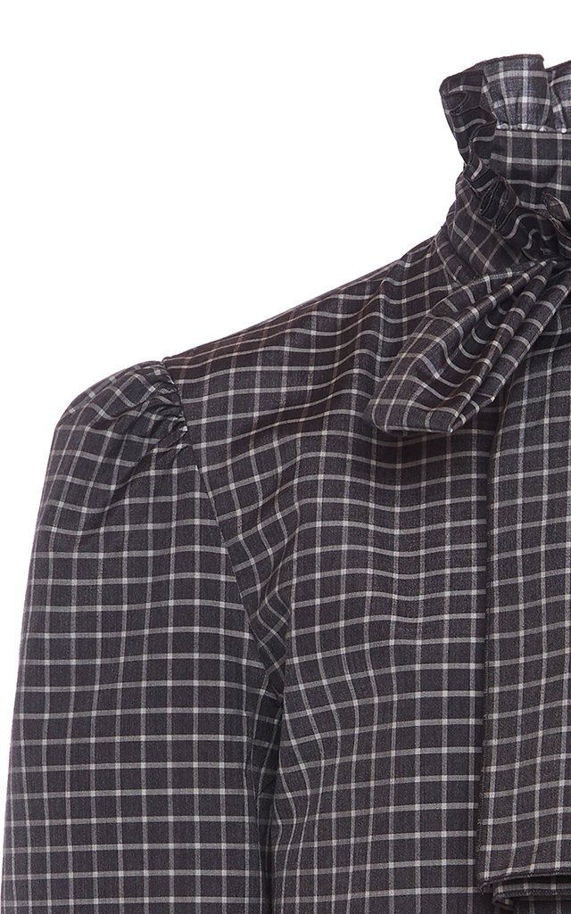 Checked Wool-Silk Blouse