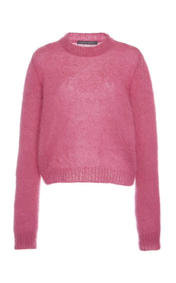 Ribbed-Trim Mohair Sweater