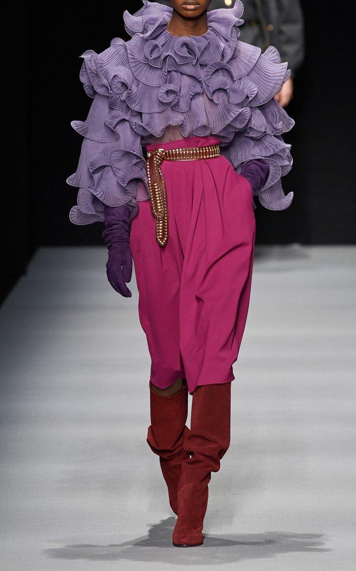 High-Rise Gabardine Midi Skirt