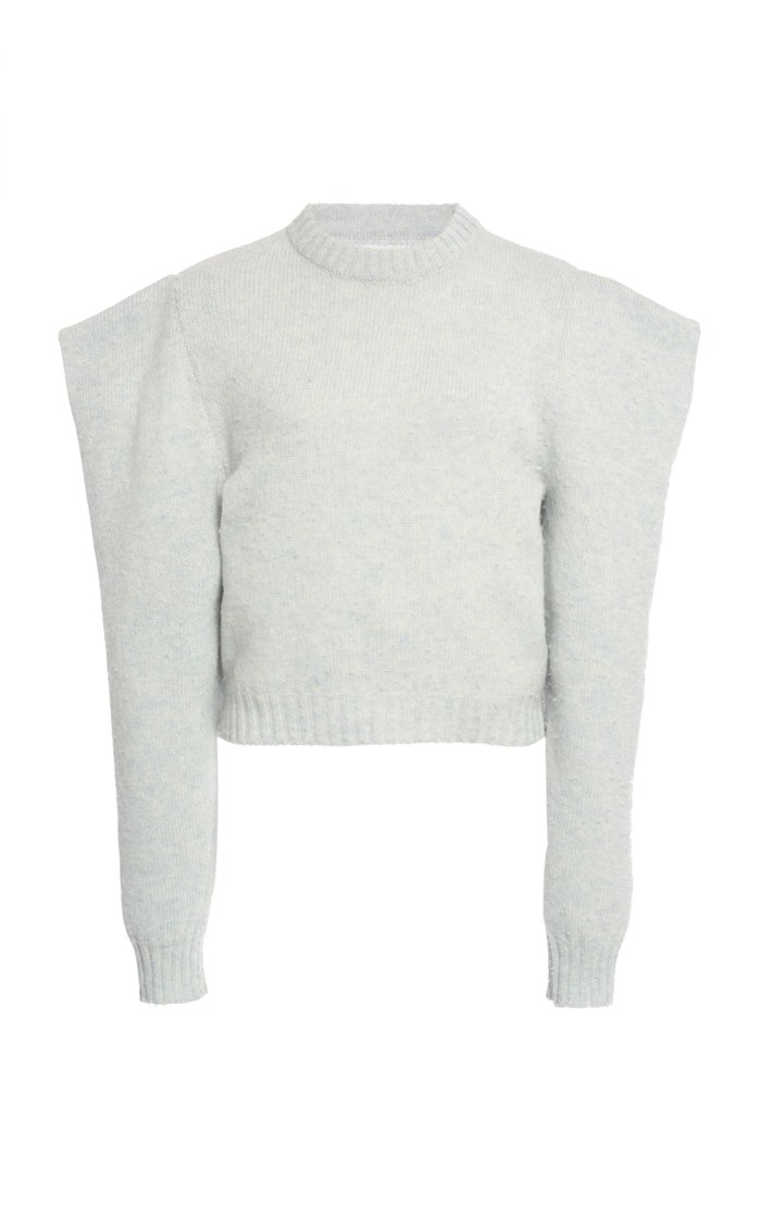 Statement-Sleeve Cropped Wool Sweater