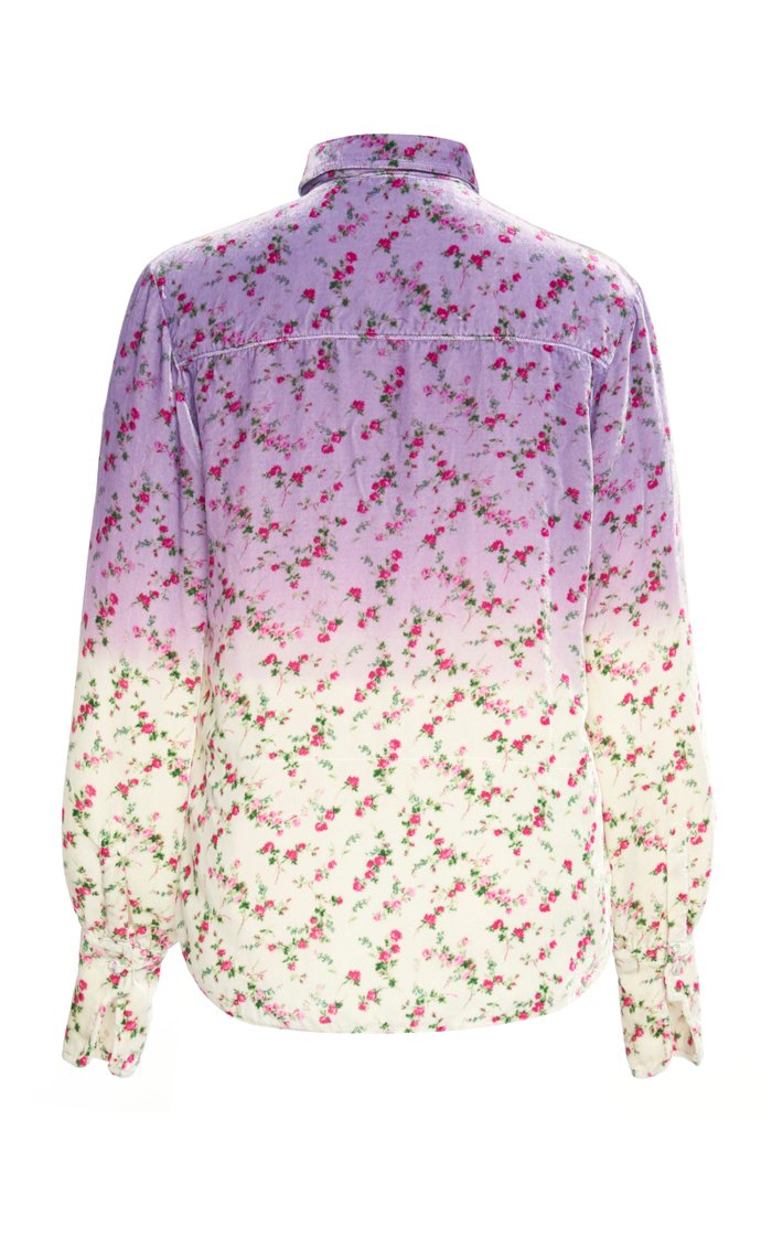 Ombre Floral-Print Velvet Top
