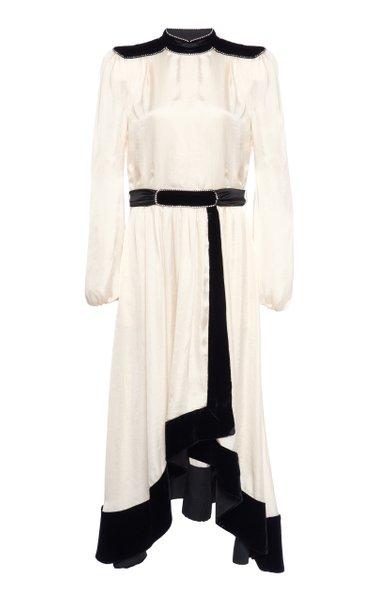 Embellished Two-Tone Satin Maxi Dress