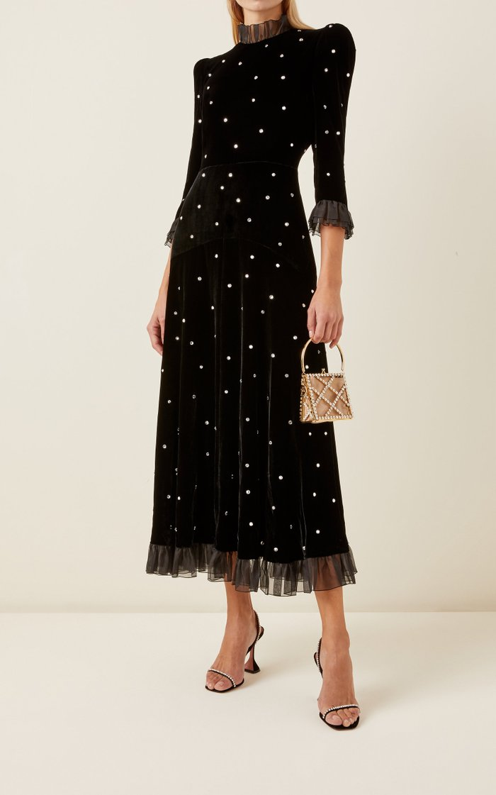 Organza-Trimmed Crystal-Embellished Velvet Midi Dress