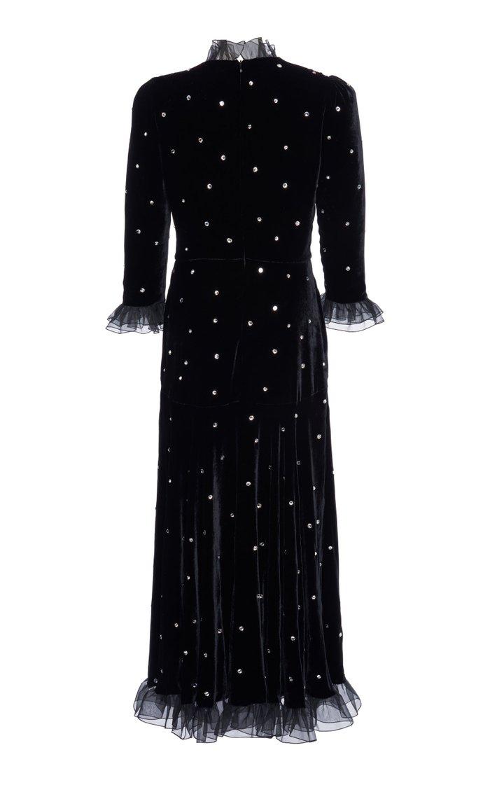 Organza-Trimmed Crystal-Embellished Velvet Midi Dress