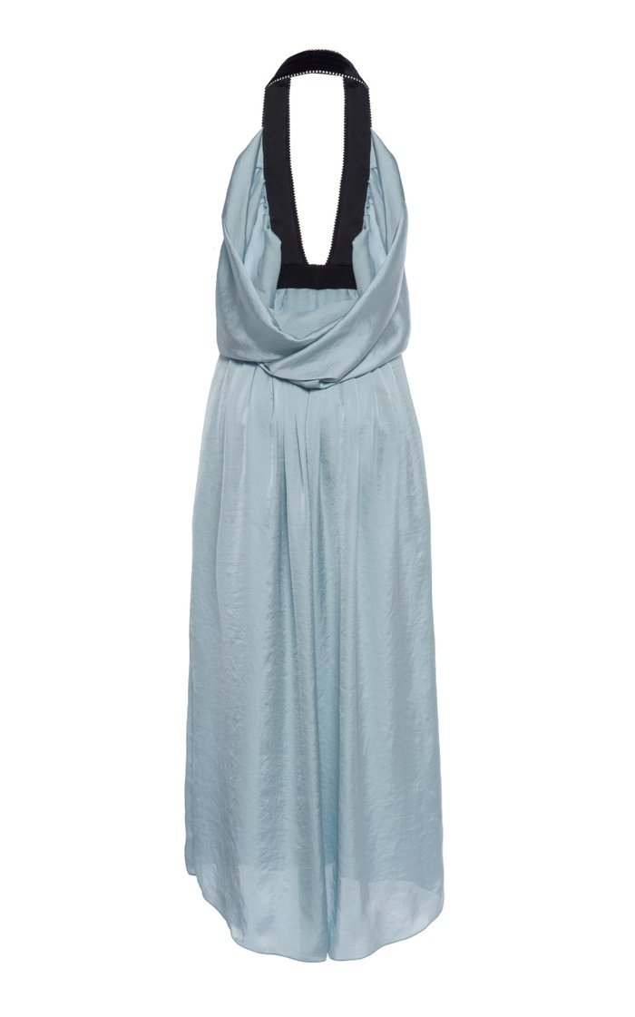 Embellished Halterneck Satin Midi Dress