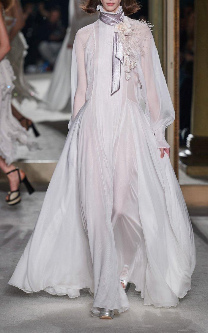 Ruffled High-Neck Chiffon Gown
