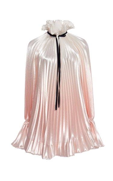 Tie-Detailed Ombré Pleated Satin Mini Dress
