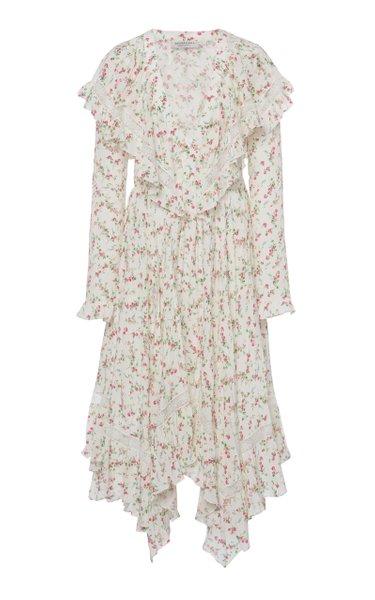 Ruffled Floral-Print Silk Midi Dress