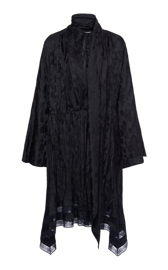 Pleated Jacquard Midi Dress