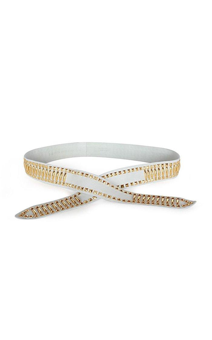 Gold-Tone Studded Leather Waist Belt