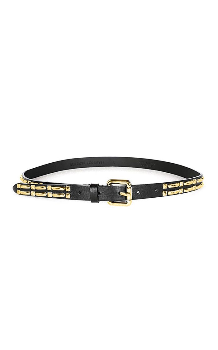 Gold-Tone Studded Thin Leather Belt