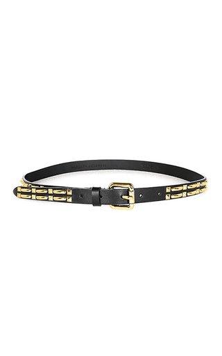 Gold-Tone Studded Thin Leather Belt