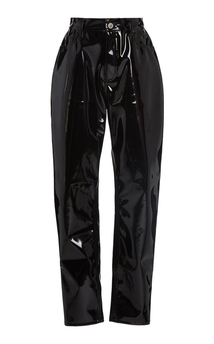 High-Waisted Vinyl Straight-Leg Pants