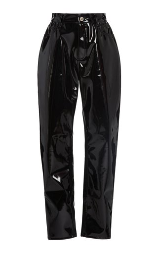 High-Waisted Vinyl Straight-Leg Pants