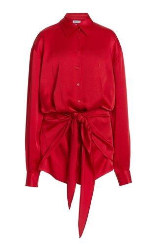 Tie-Front Satin Mini Shirt Dress