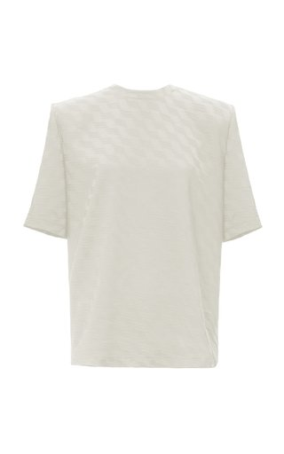 Printed Shoulder-Pad Jersey T-Shirt