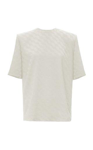 Printed Shoulder-Pad Jersey T-Shirt