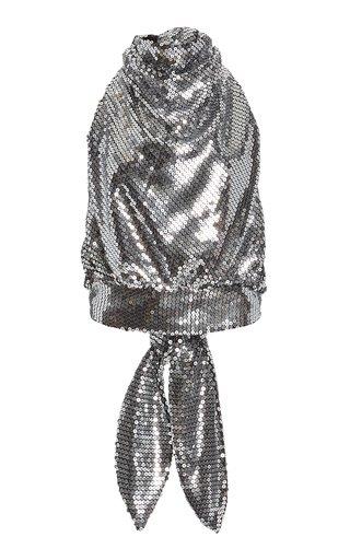 Sequin-Embellished Halter Neck Top