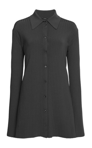Beth Ribbed-Knit Button-Front Top