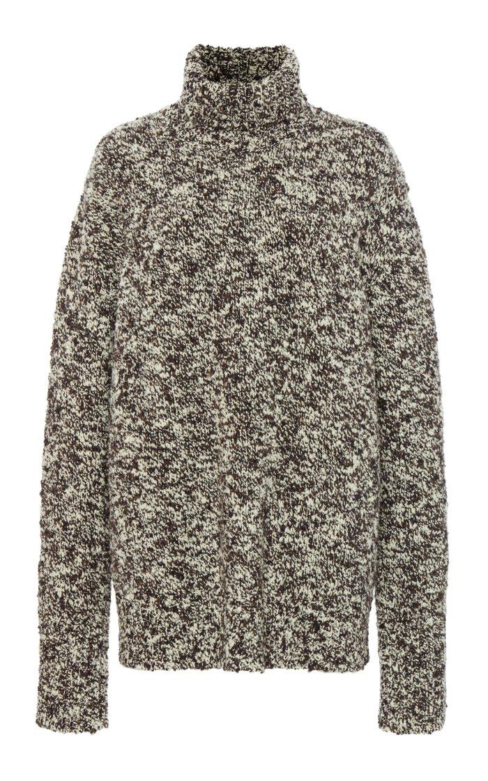 Oversized Wool-Blend Bouclé Turtleneck Sweater